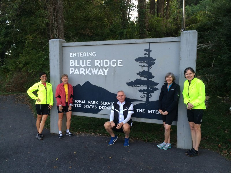 Cyclists at entrance of Blue Ridge Parkway