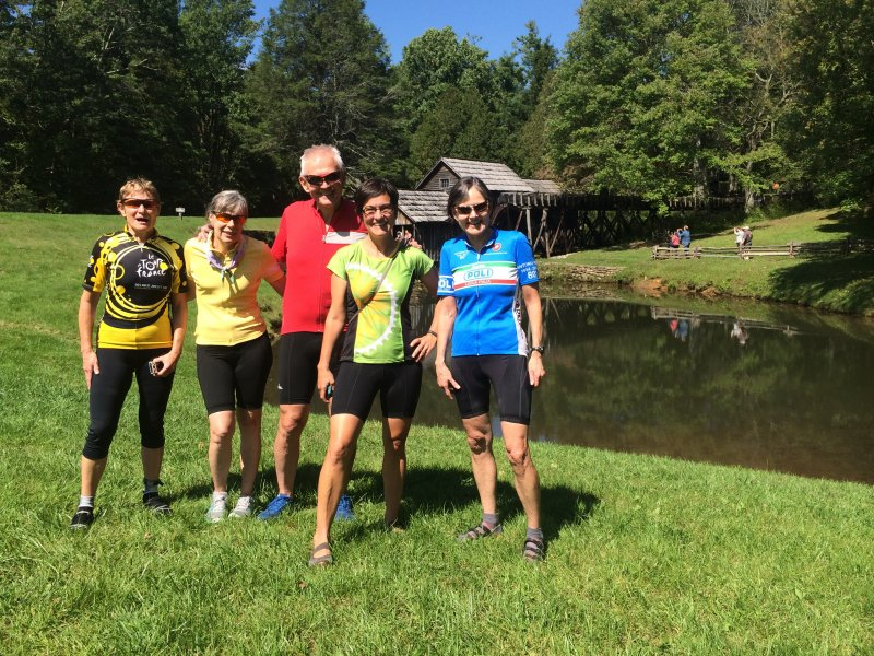 Cyclists at Mabry Mill