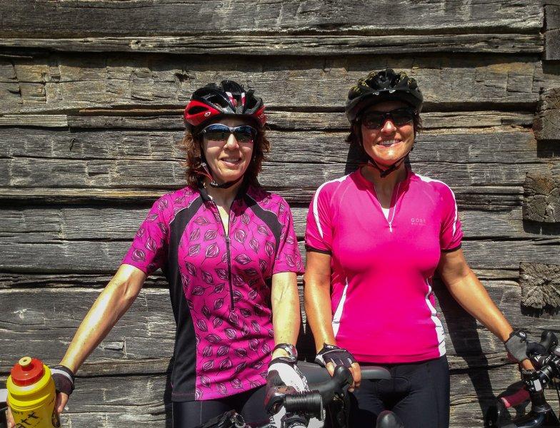 Cyclists at Puckett Cabin