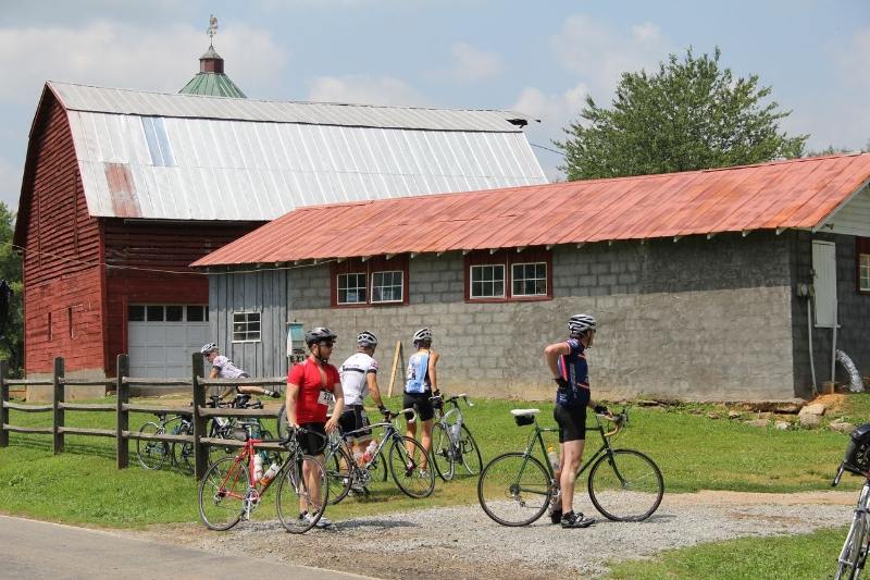 Cyclists at Peaceful Valley Farm