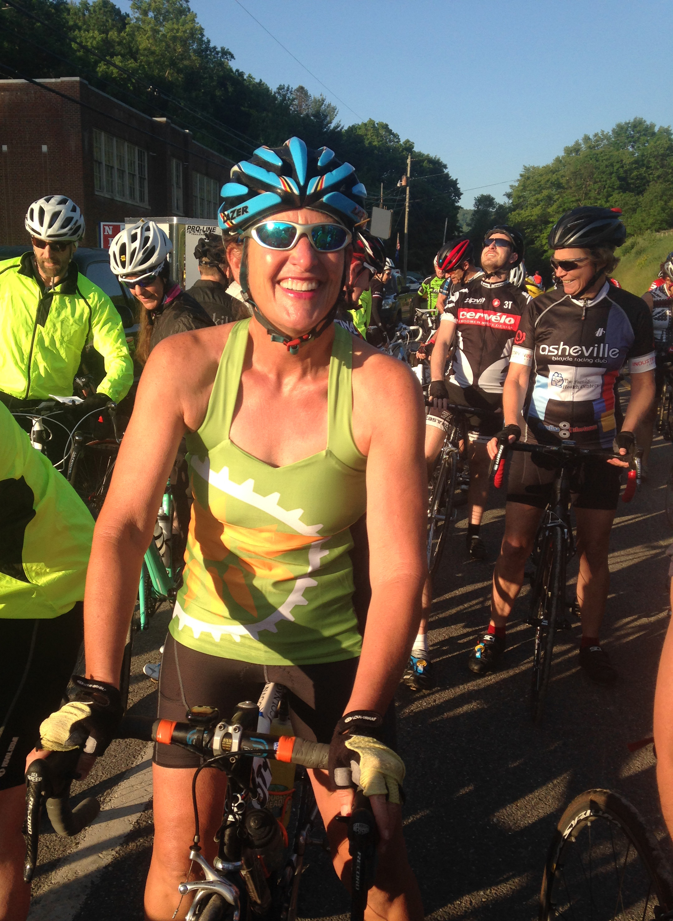 Liz Sports the VGR Tank on Mountains of Misery bicycle tour in Virginia