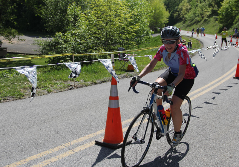 Susan Finishes on Mountains of Misery bicycle tour in Virginia