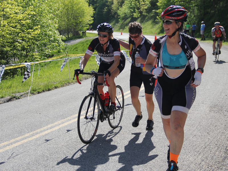 Three Amigos Finish on Mountains of Misery bicycle tour in Virginia