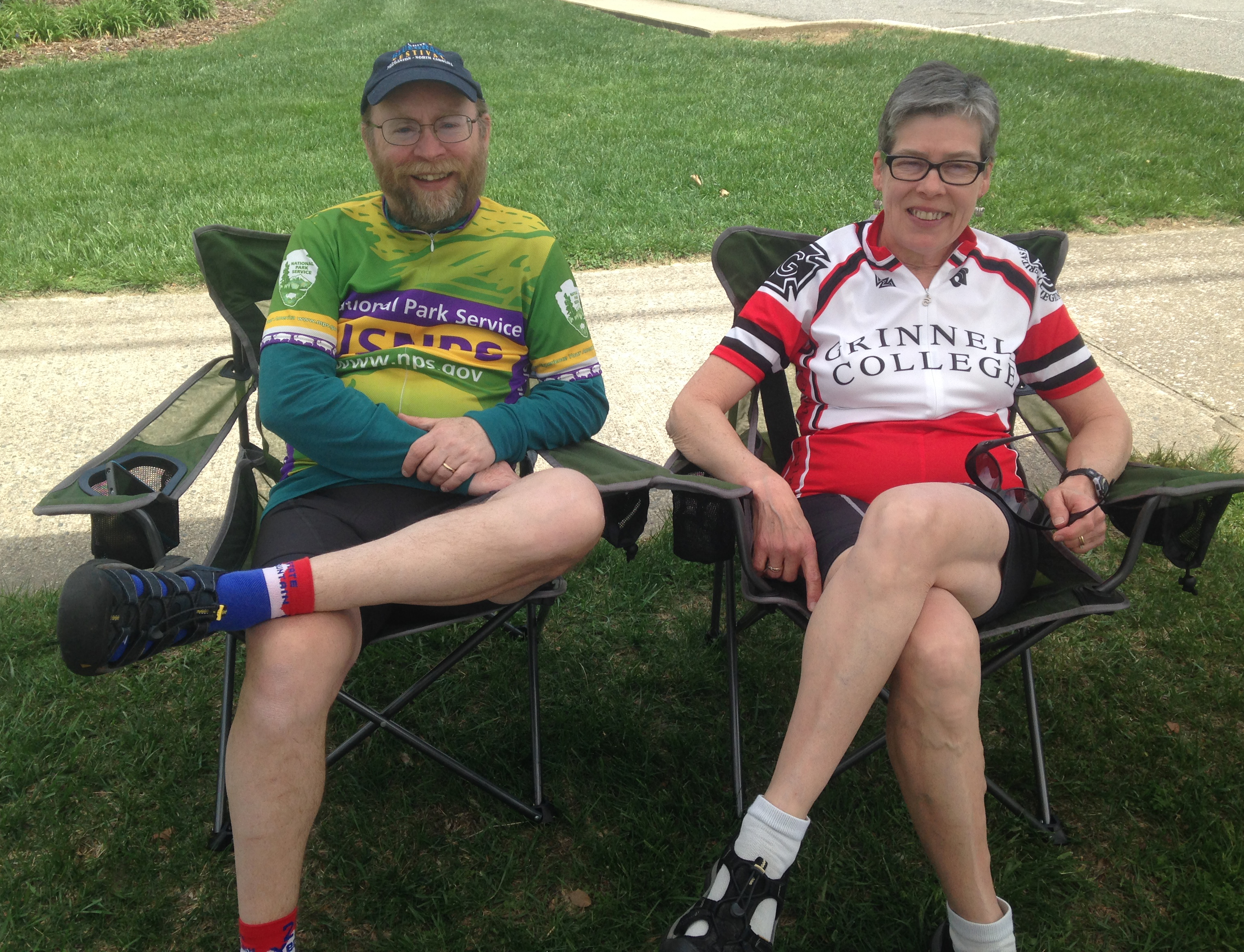 Celia & Wayne relax after finishing Bike Tour of the Carolinas