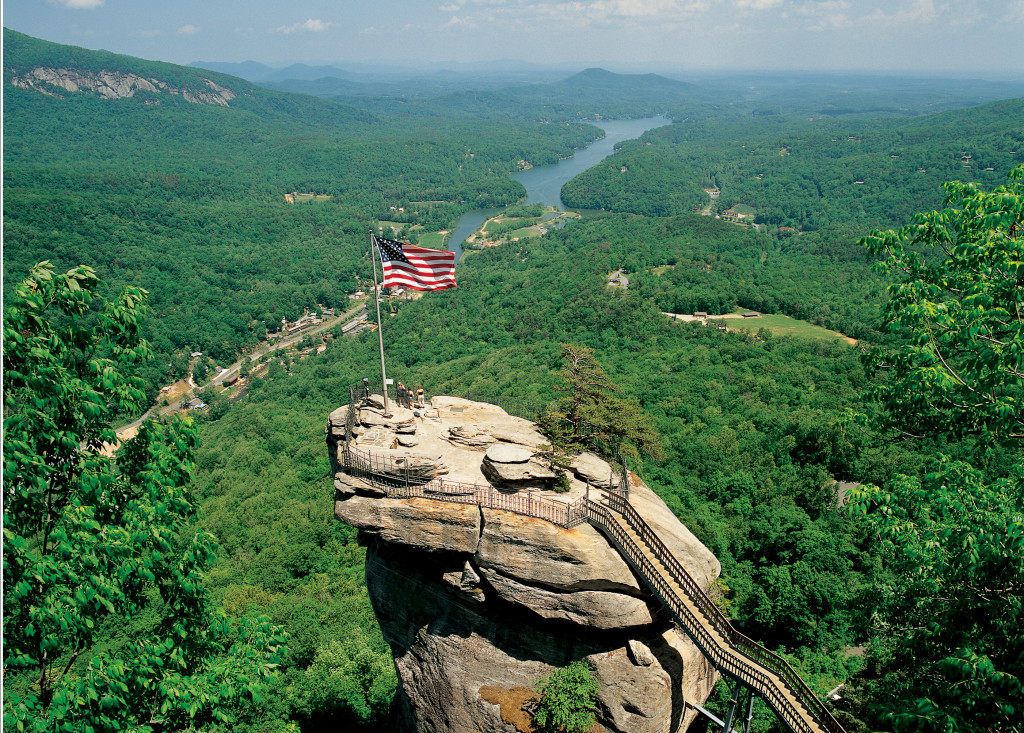A view of Chimney Rock while on a custom bike tour in North Carolina
