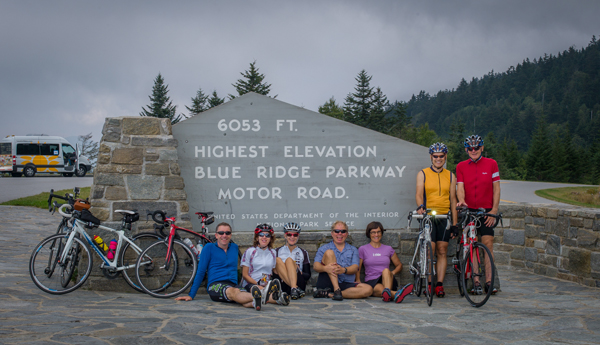 Cyclists riding the Blue Ridge Parkway with Velo Girl Rides