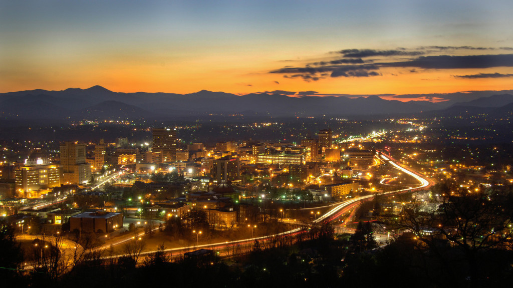 Night time view of Asheville, North Carolina