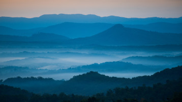 Stunning view of the Blue Ridge Mountains while cycling the Blue Ridge Parkway