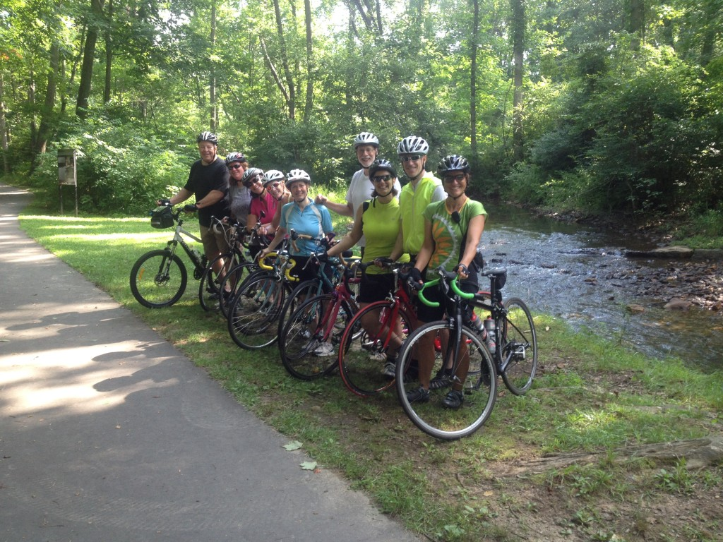 A group of cyclists on a custom bicycle tour in North Carolina