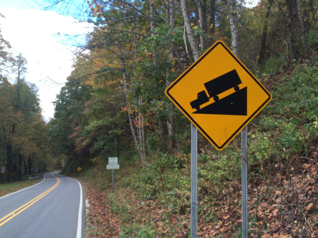 Steep descents while cycling in North Carolina
