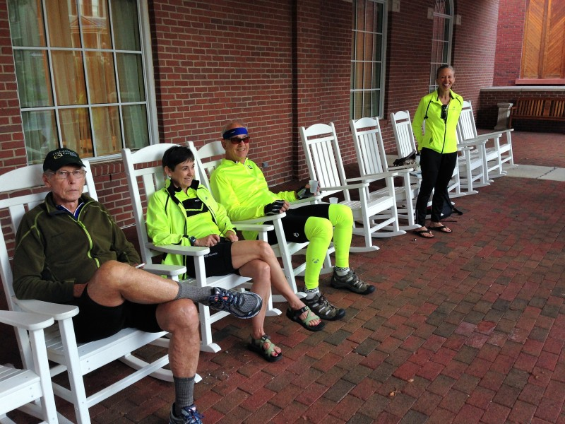 Riders take one more chance to rest their legs before departing the Stonewall Jackson Hotel for an epic day on the parkway.