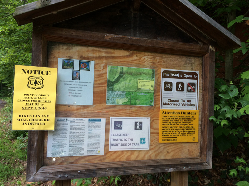 USFS Closure Notice posted at the trail head