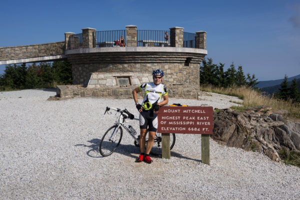 Reed at the summit of Mt Mitchell